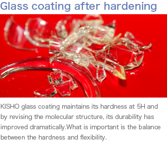 Glass coating after hardening